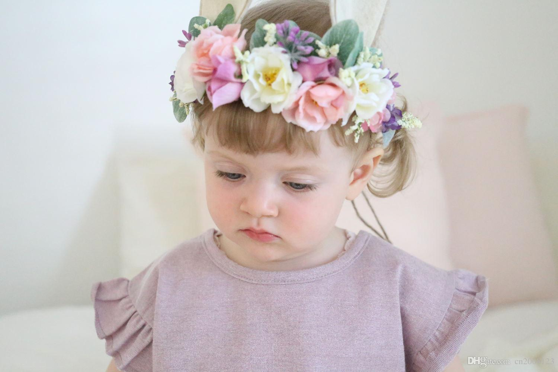 baby artificial flowers headbands girls rabbit ears hairbands cute