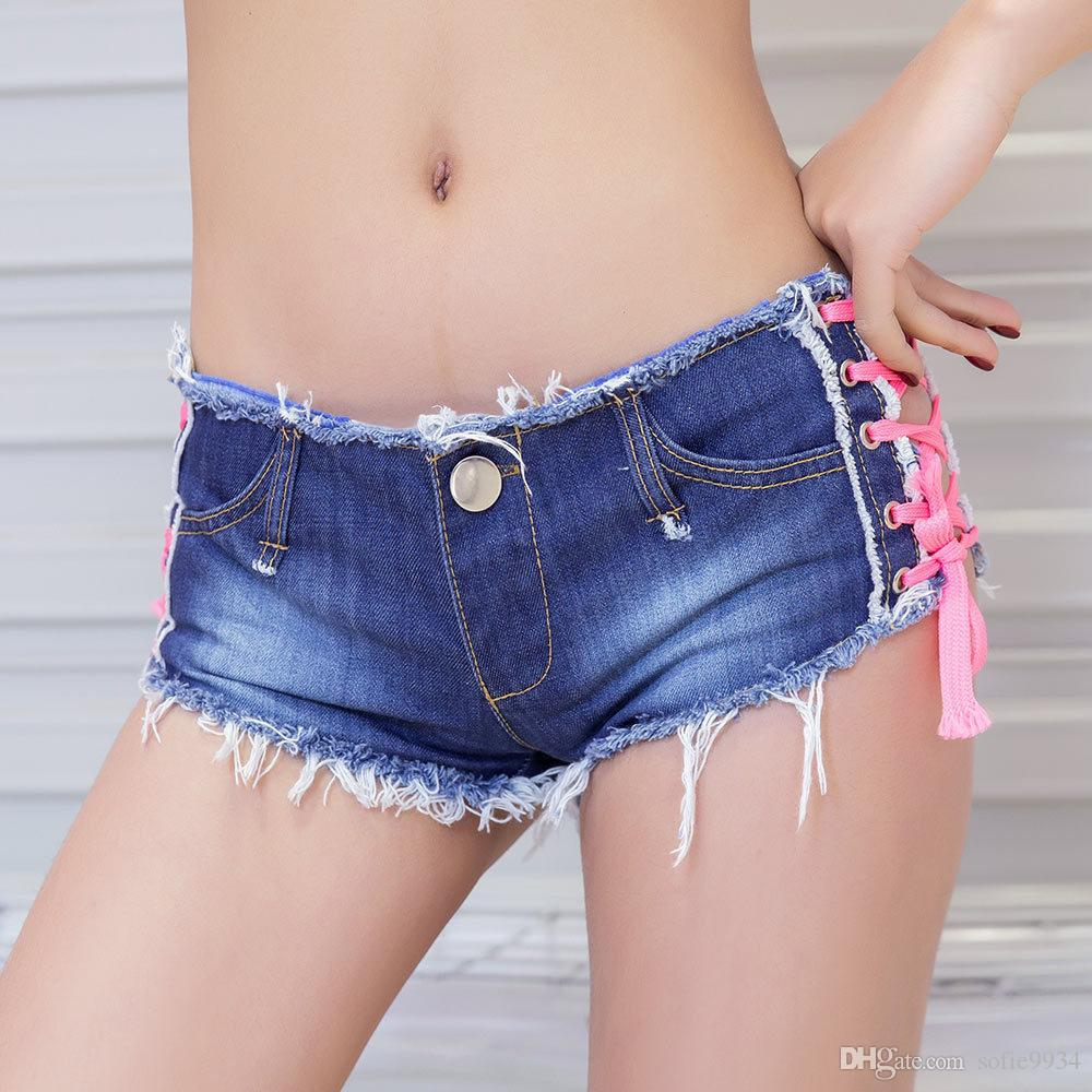 ummer Style Sexy Denim Shorts Women New Blue Low Waist Ripped Short Jeans Femme Tassel Lace Up Bandage Hotpants party wear