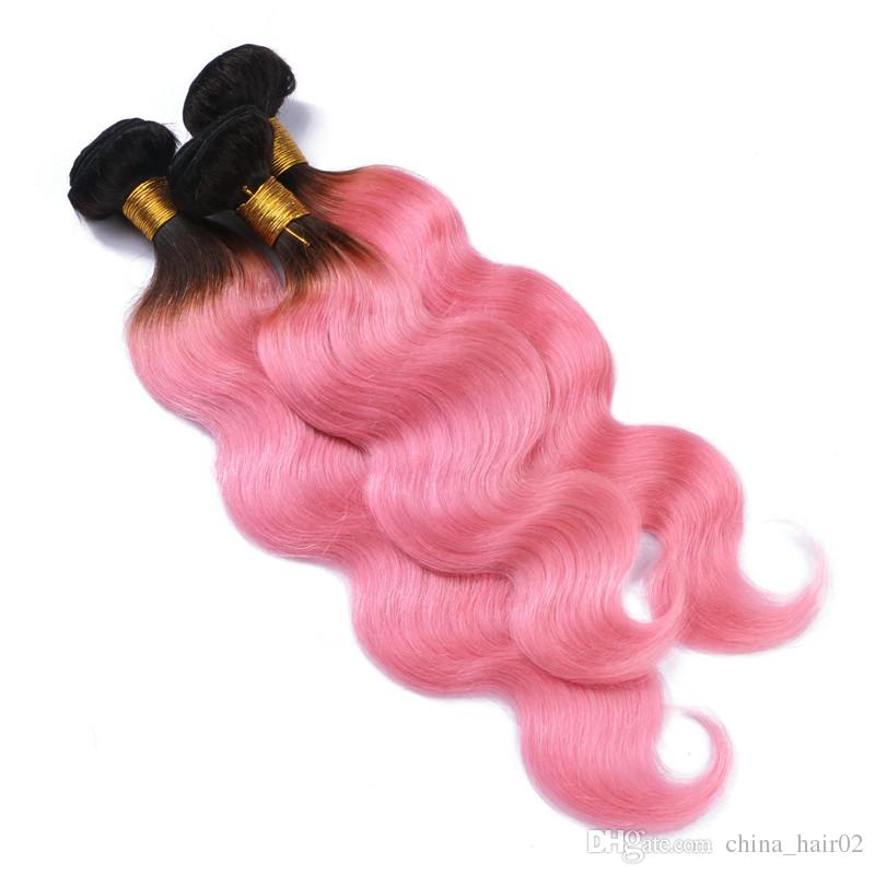 Brasileiro Ombre Rosa Cabelo Humano Virgem Tece Extensões Enraizado # 1B / Rosa Ombre Cabelo Humano Onda Do Corpo Pacotes Azuis emaranhado Livre