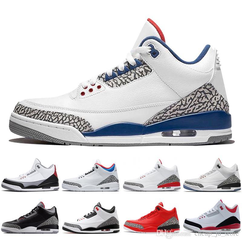da825140381 Acheter Nike Air Jordan Retro Shoes 3 Chaussure De Basket Ball Pour Hommes  Noir Ciment Ligne De Lancer JTH NRG Tinker Hartfield Infrared 23 Sport True  Blue ...
