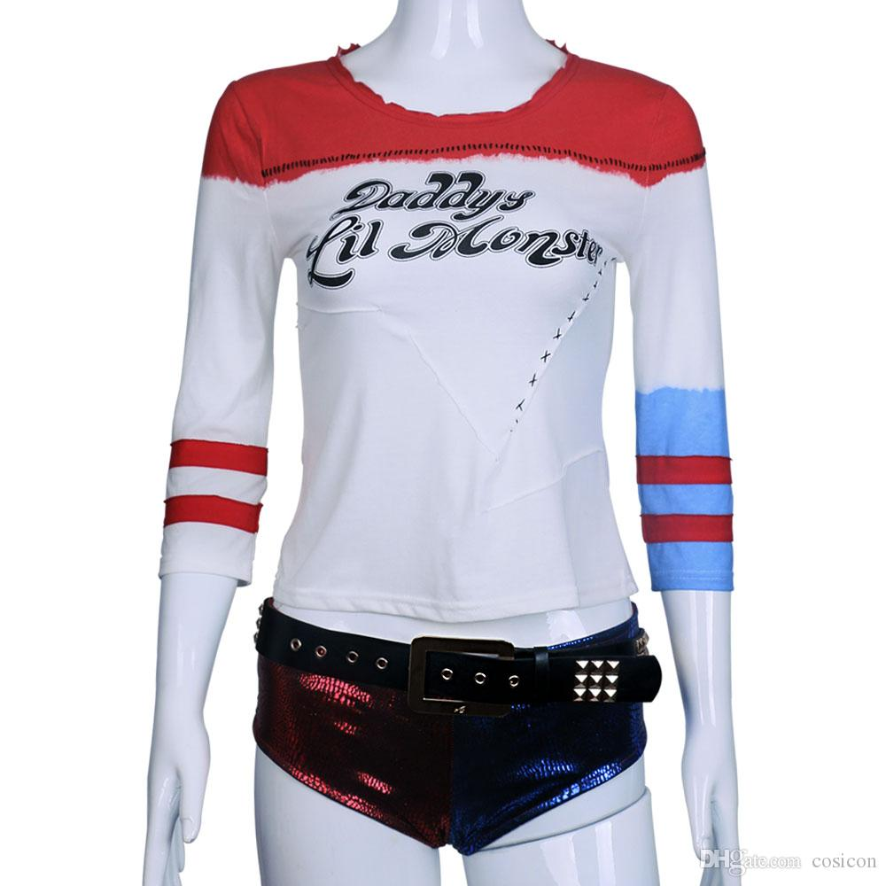 2016 Suicide Squad Cosplay Harley Quinn Shorts Pants Red Blue Harleen Quinzel Cosplay Accessorie Halloween Cosplay Props