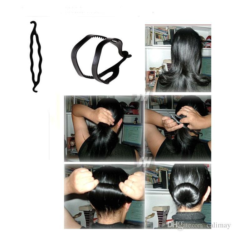 4 unids / set Magia Trenzado de pelo Twist Curler Styling Set Horquilla Sostener Braiders de pelo Tire de la aguja del pelo Cola de caballo Herramienta de DIY con embalaje al por menor