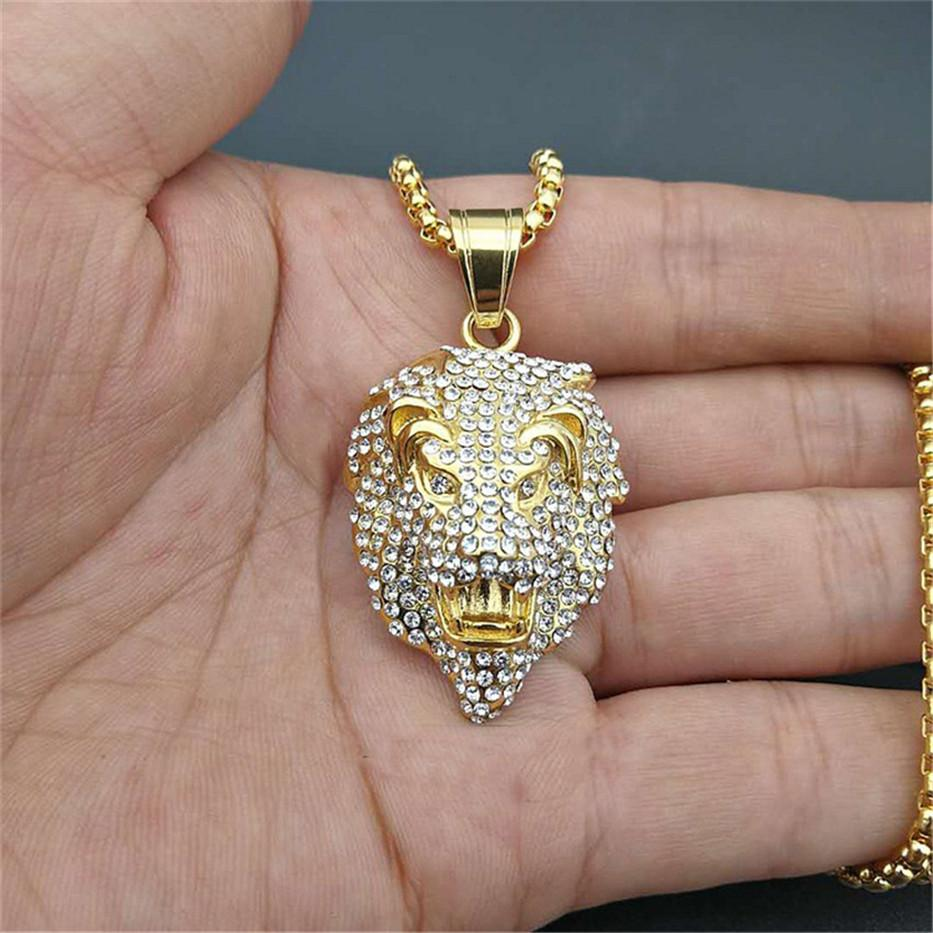 Wholesale Women S   Men S Necklace Lion Head Pendant With Stainlees Steel  Chain And Iced Out Bling Rhinestones Necklace Hip Hop Jewelry Wholesale  Jewelry ... 773d8cbaf