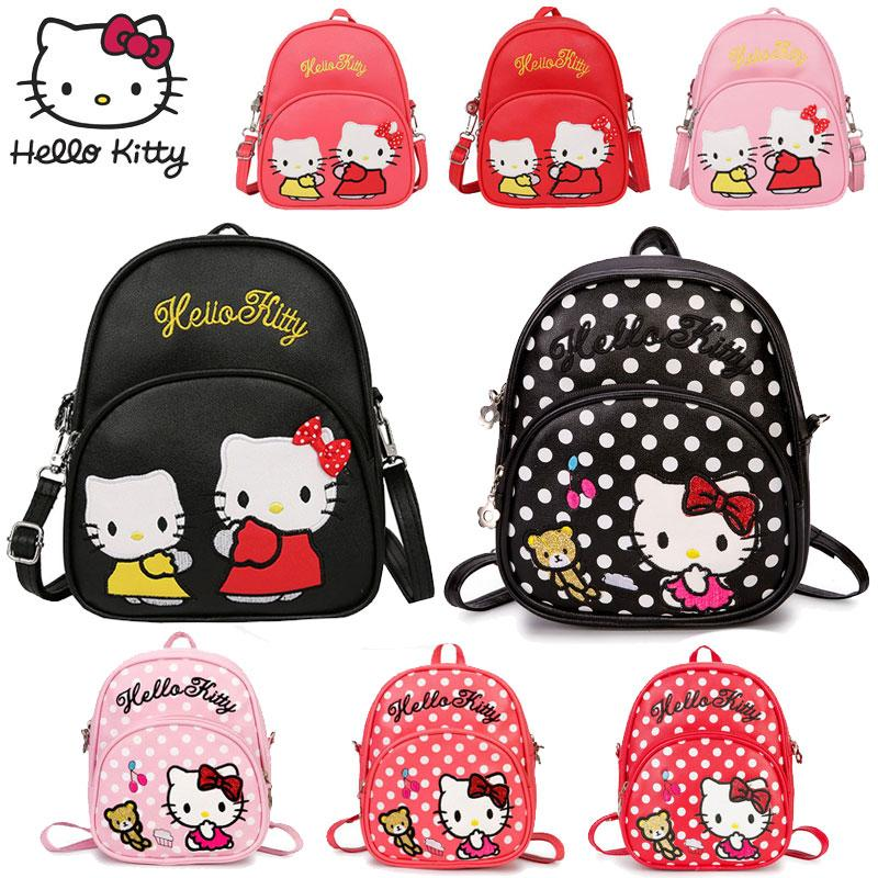 5530550111bd 2019 3WAY Hello Kitty Backpack Shoulder Crossbody Bags 2018 Fashion New Style  Girl Leather Small Messenger Kids School Bag Plush Gift From Vingner