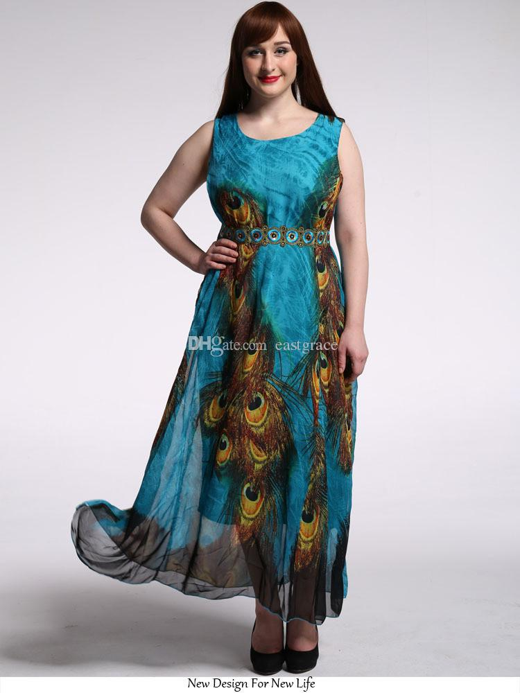 70fa748e80 2019 Ethnic Style Women Plus Size M 9XL Dress High Quality Peacock Feathers  Print Beach Boho Maxi Dress Summer Sundress Casual Dresses From Eastgrace