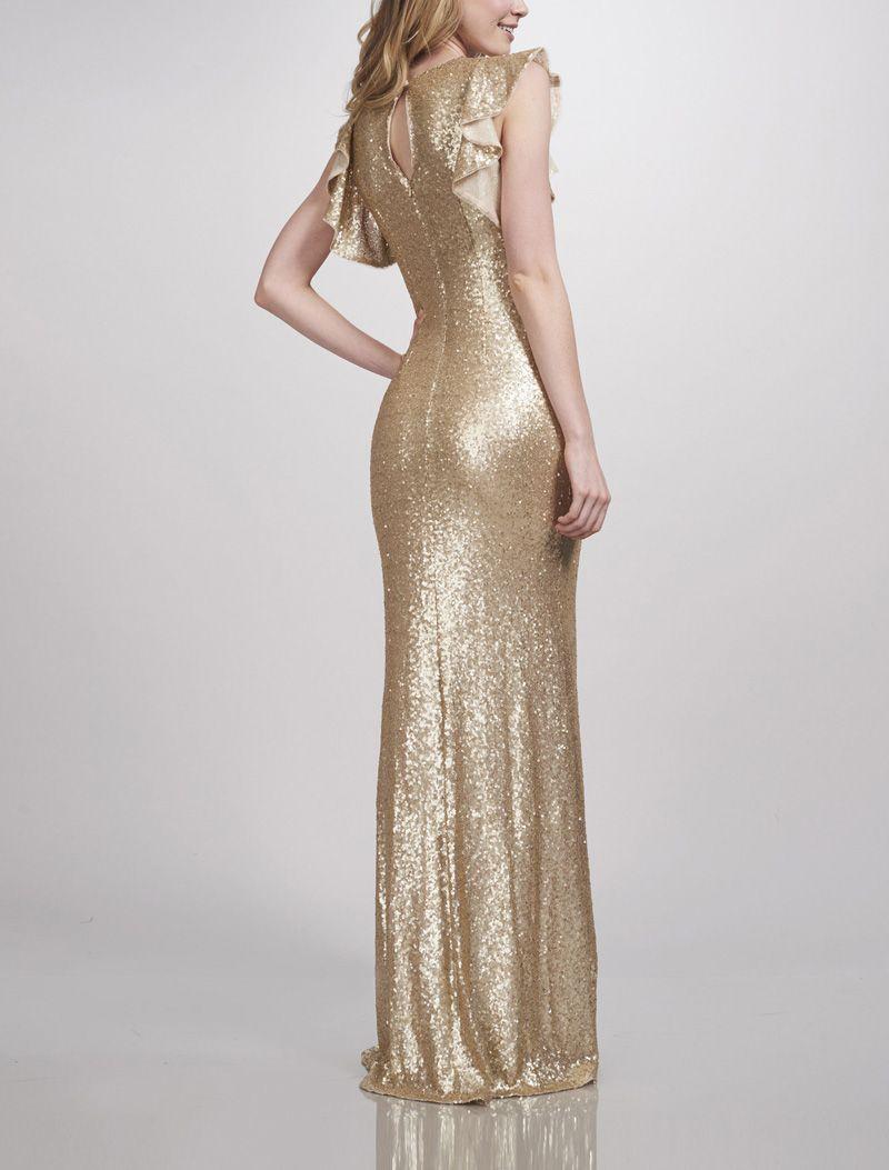 Matte Gold Sequins Bridesmaid Dresses Crew Mermaid Bridesmaid ...