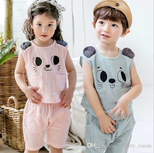 a5ff8e9ac031 Korean Cute Boys Girls Outfits Summer Cotton Kids Clothing Sets Cute ...