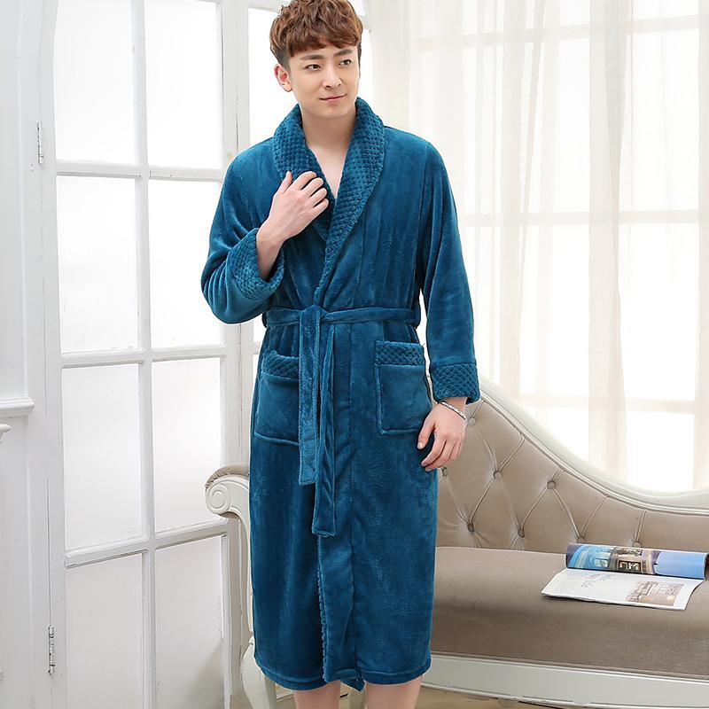 2018 New Fashion Men\'S Extra Long Warm Bathrobe Silk Soft Flannel ...