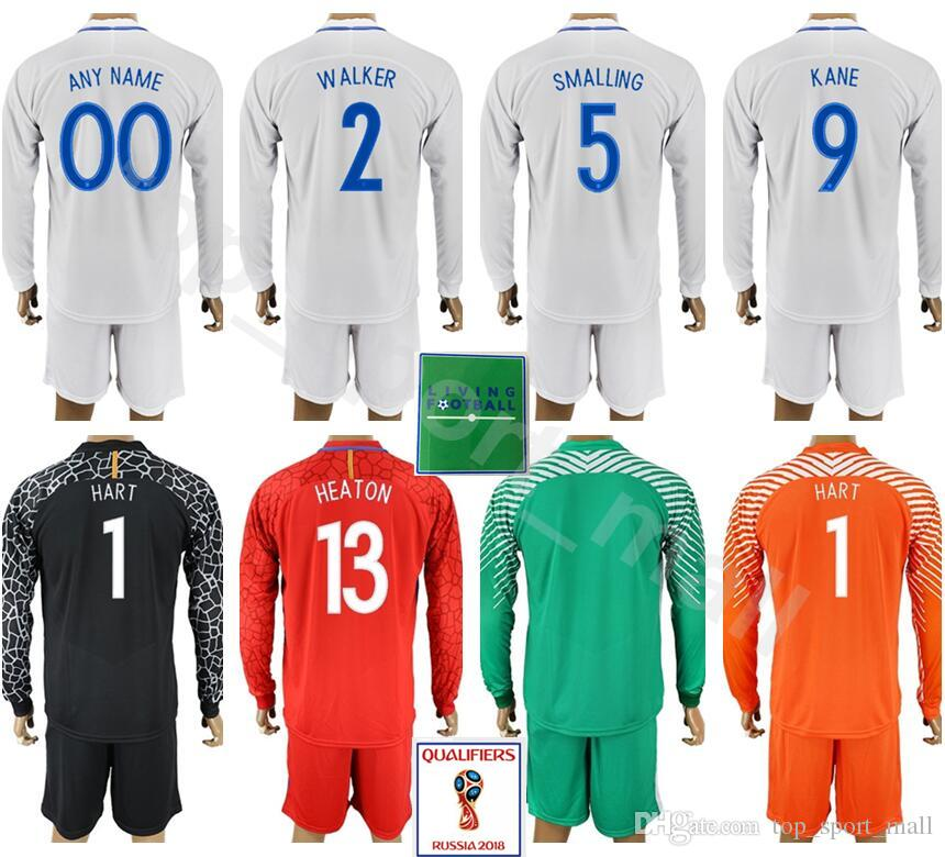 826da9622 2019 England Long Sleeve Jersey Set 2018 World Cup UK 9 KANE 5 STONES 2  WALKER 1 PICKFORD 1 HART Goalkeeper Football Shirt Kits Uniform Red White  From ...