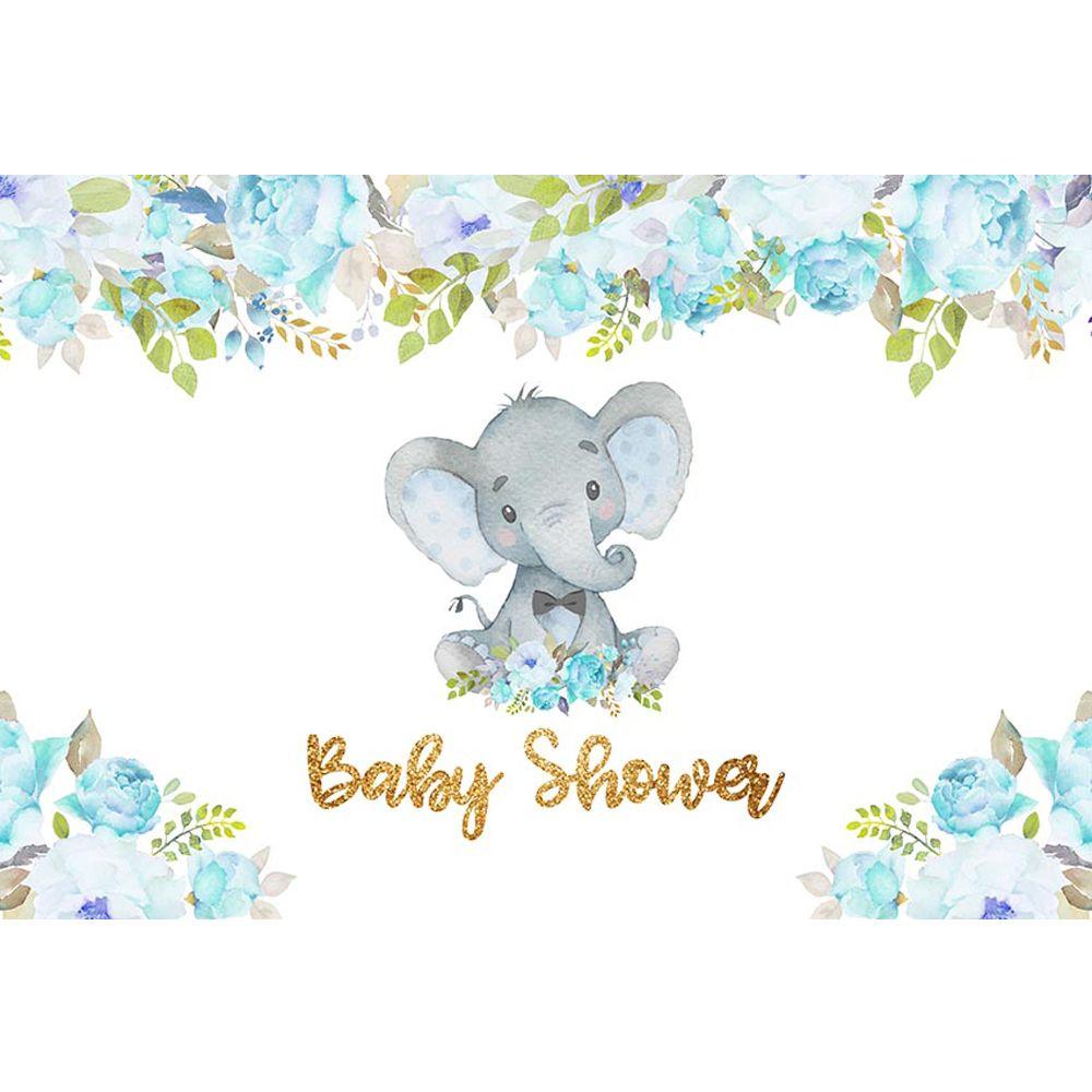 2019 Newborn Baby Shower Boy Elephant Backdrop Printed Blue Flowers