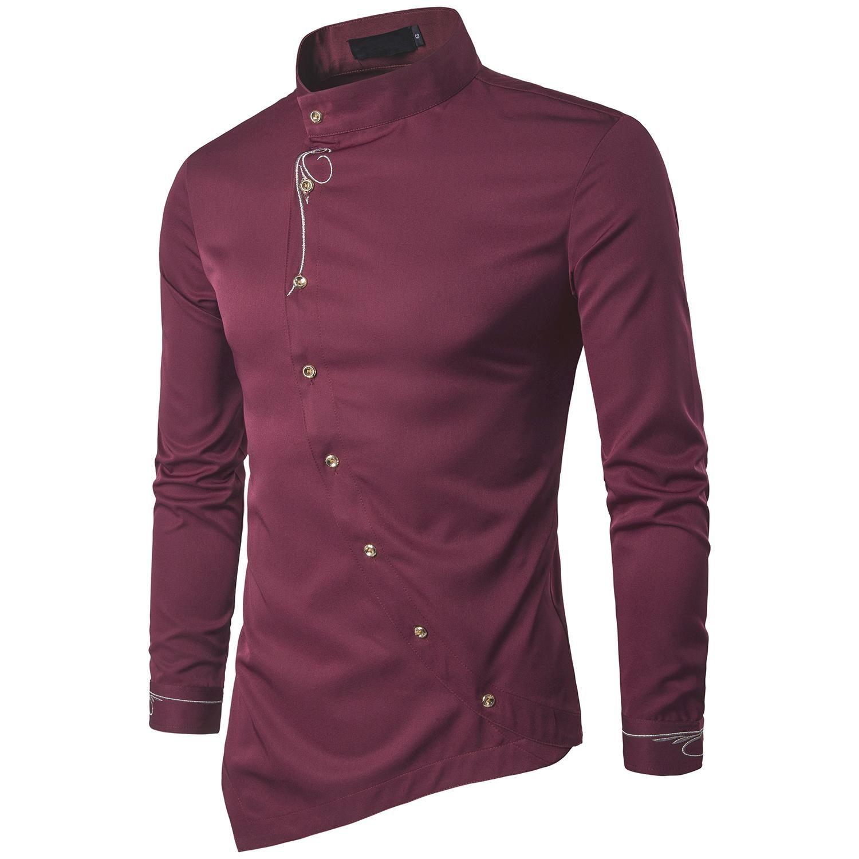 31f419d39d Compre Camisa De Comercio Exterior Para Jóvenes Moda Para Hombre Botones En  Diagonal Irregular Camisa Multicolor Camisa De Manga Larga Turn Down Collar  ...