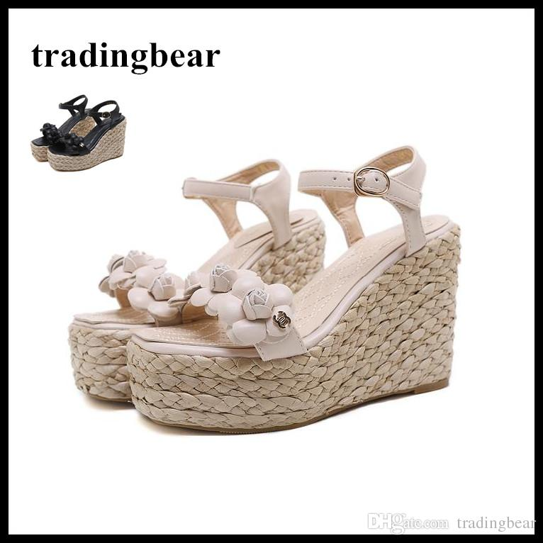 0464b9ba301 Designer Shoes Straw Woven With Flower Platform High Heel Wedges Summer Women  Sandals Beige Black Size 35 To 39 Wedge Sandals Jesus Sandals From  Tradingbear ...