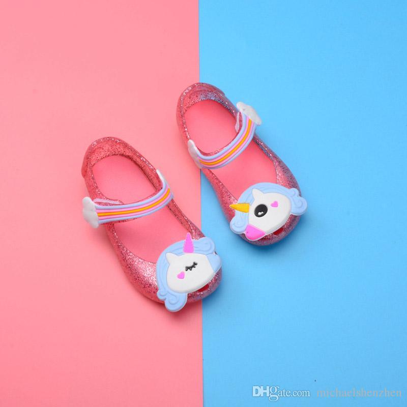 Freies DHL 3 Farben-Babygelee beschuht koreanische Version des neuen Einhorns des Sommers 2018 der reizenden Prinzessin beschuht Mädchensandelholze B001