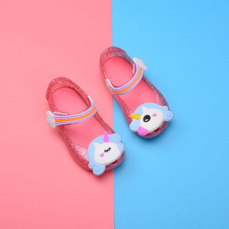 Grátis DHL 3 Cor Bebê menina sapatos de geléia 2018 Verão novo Unicórnio versão Coreana da linda princesa sapatos menina sandálias B001