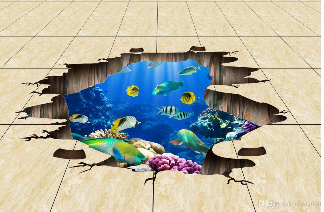 modern wallpaper for living room Ocean World Boardwalk 3D floor tiles three-dimensional painting wallpaper brick wall 3d