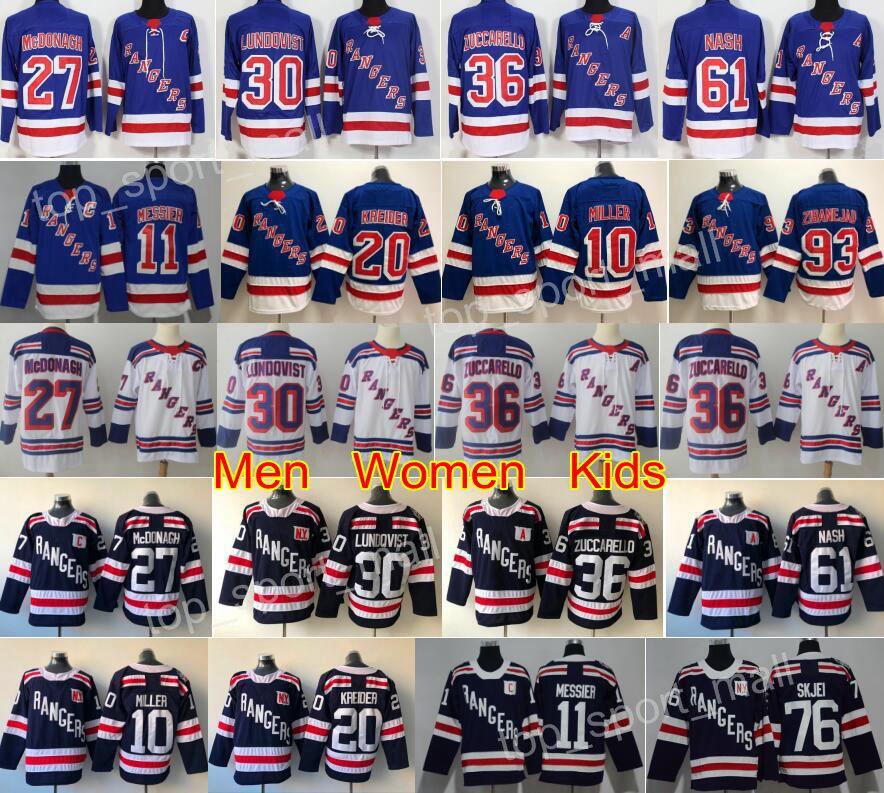 805eab62f64 2019 New York Rangers Jerseys Hockey 30 Henrik Lundqvist 36 Mats Zuccarello  76 Brady Skjei 20 Chris Kreider Mika Zibanejad JT Miller Blue White From ...