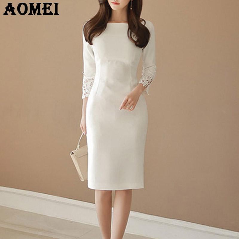 6bb29684db Mulheres Vestidos Brancos Senhora do Escritório Desgaste do Trabalho Fino  Elegante Elegante Magro Modest Workwear Pacote Feminino Vestido Hip Queda  Outono ...