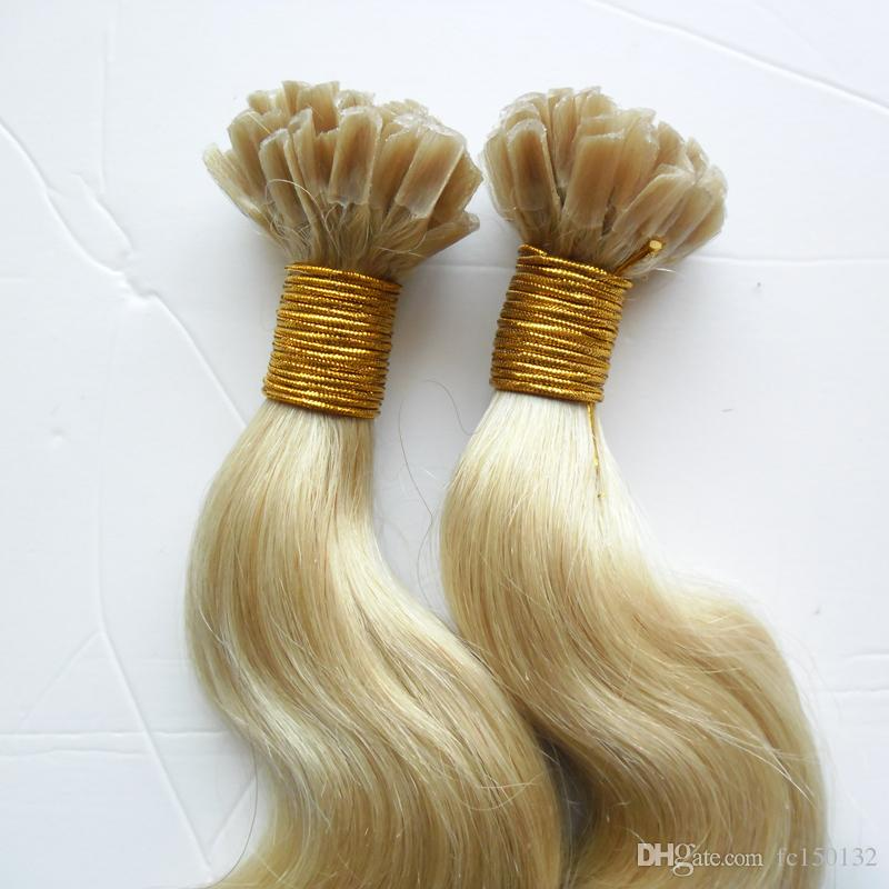 613 Blonde Brazilian Body Wave Hair Extensions 100% Remy Human Hair Nail U Tip Pre Bonded Capsules Hair Extension 100g
