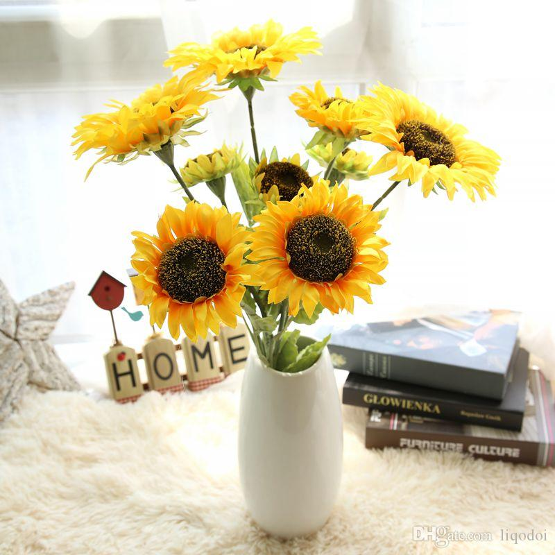 2018 artificial flower plant artificial sunflower silk flower diy 2018 artificial flower plant artificial sunflower silk flower diy party wedding simulation sunflowers home table decor bouquet from liqodoi 365 dhgate mightylinksfo