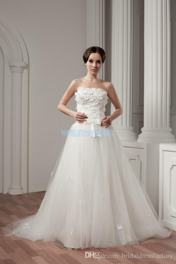 2018 new design hot seller good quality small train custom size/color lace up white beading empire wedding dresses