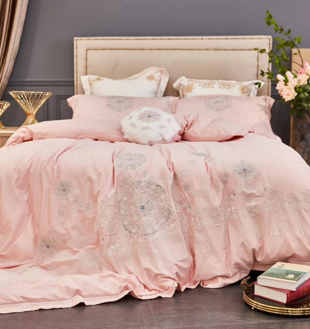 60S Egytian Coon Luxury Bedding Sets 4/Princess Pink Girls Bed Set Double  Queen King Size Embroidery Sheets Tribute Silk Teenage Bedding Girl Bedding  Sets ...