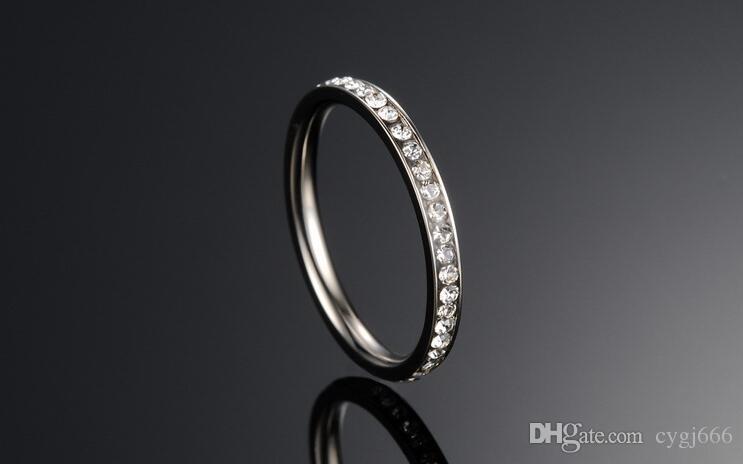 Monili coreani anello piccolo dito indice singola fila full titanio acciaio rosa oro anello femminile
