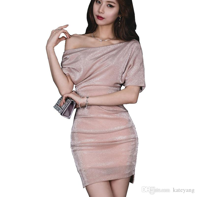 caabed2f3183 Sexy Nude Pink Dress Lurex Petite Women Short Sleeve Oblique ...