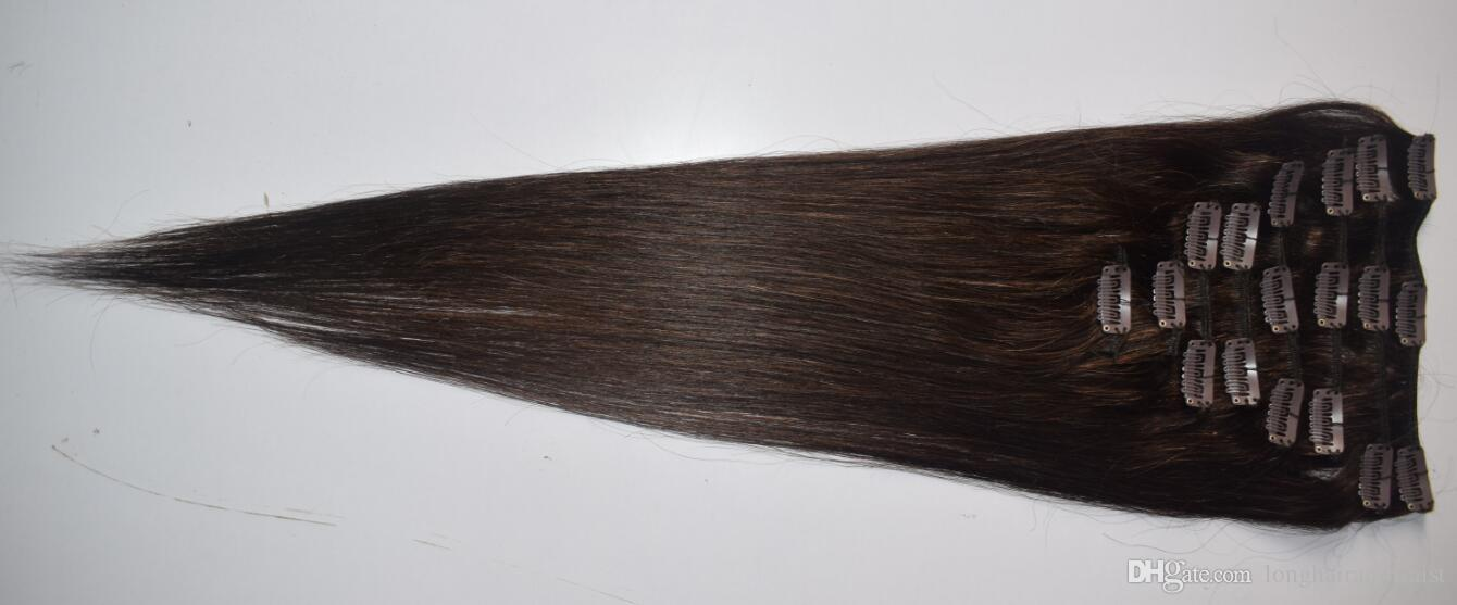 16 22 Inch Clip In Human Hair Extensions Grade 8a 2 Dark Brown Full