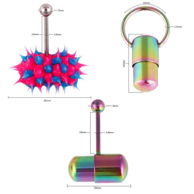 23 Estilo de Moda de Vibração Tongue Anel De Aço Inoxidável Body Piercing Com Baterias Barra de Língua Anel Do Parafuso Prisioneiro Do Anel Bola Piercing Jóias G611S