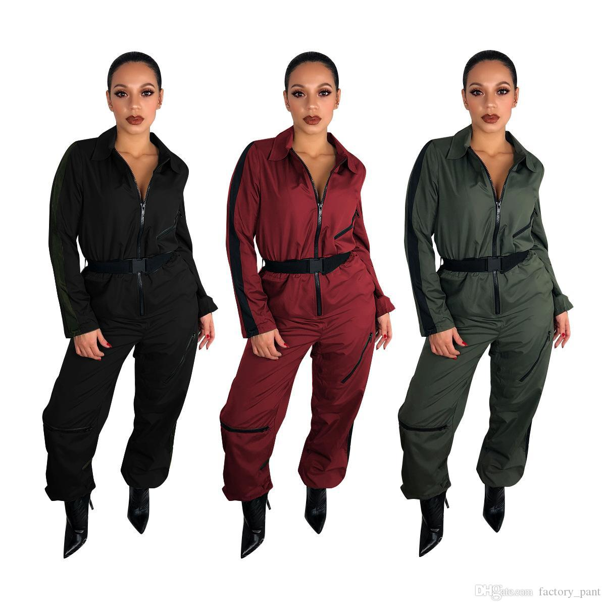 c2e337185ac Casual Solid Zipper Women Jumpsuit Long Sleeve Turn Down Collar With ...