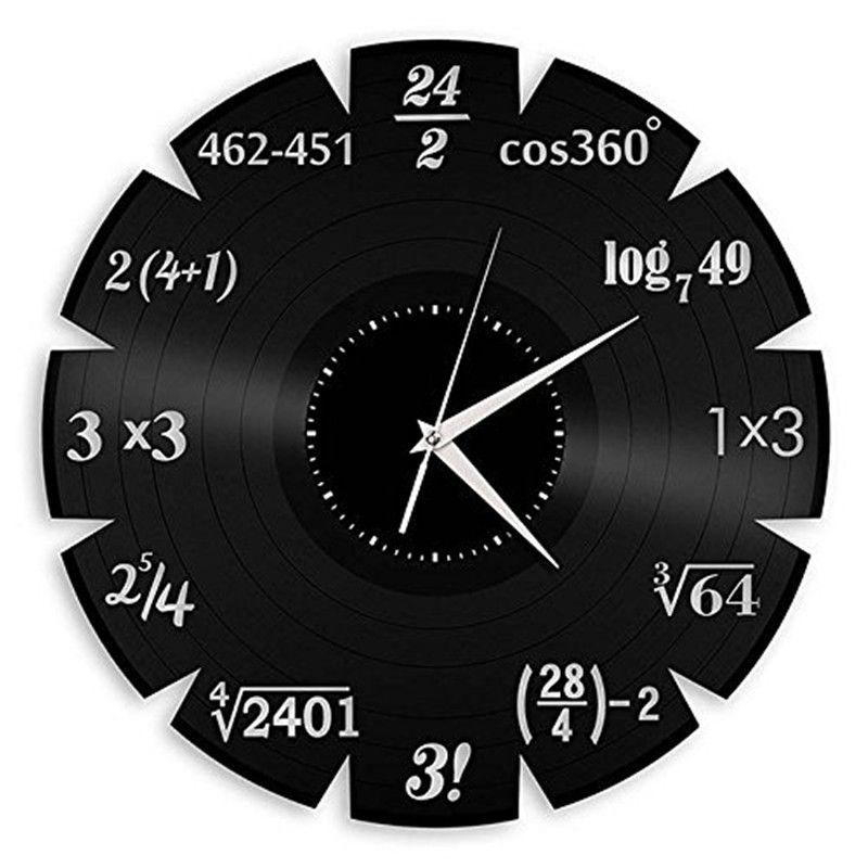 University Mathematical Elements Vinyl Creative Quartz Wall Classroom Home Decor Wall Art Clock Size: 12 inches, Color: Black