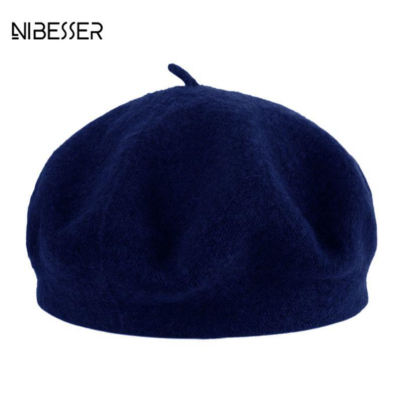 6abaf4815d704 NIBESSER Autumn And Winter Women Fashion Beret Solid Color Beret ...