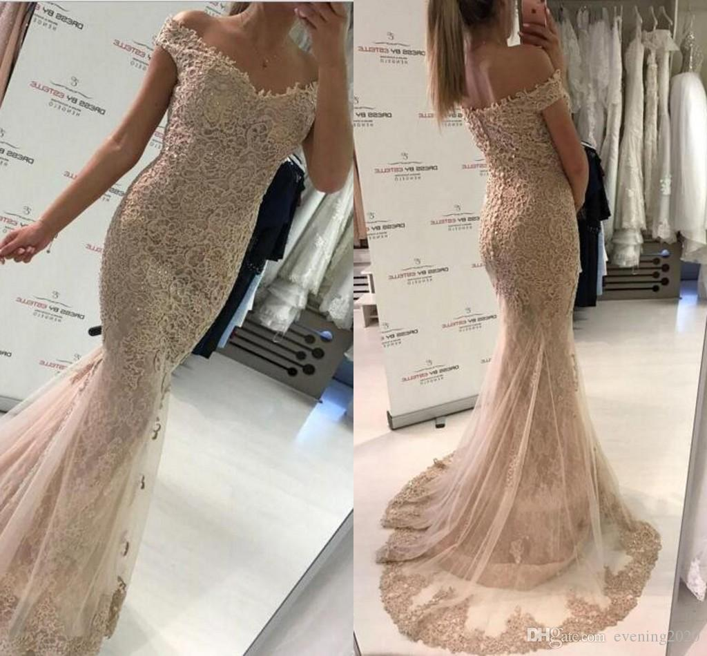 Elegant Champagne Mermaid Prom Dresses Off The Shoulder Tulle Lace