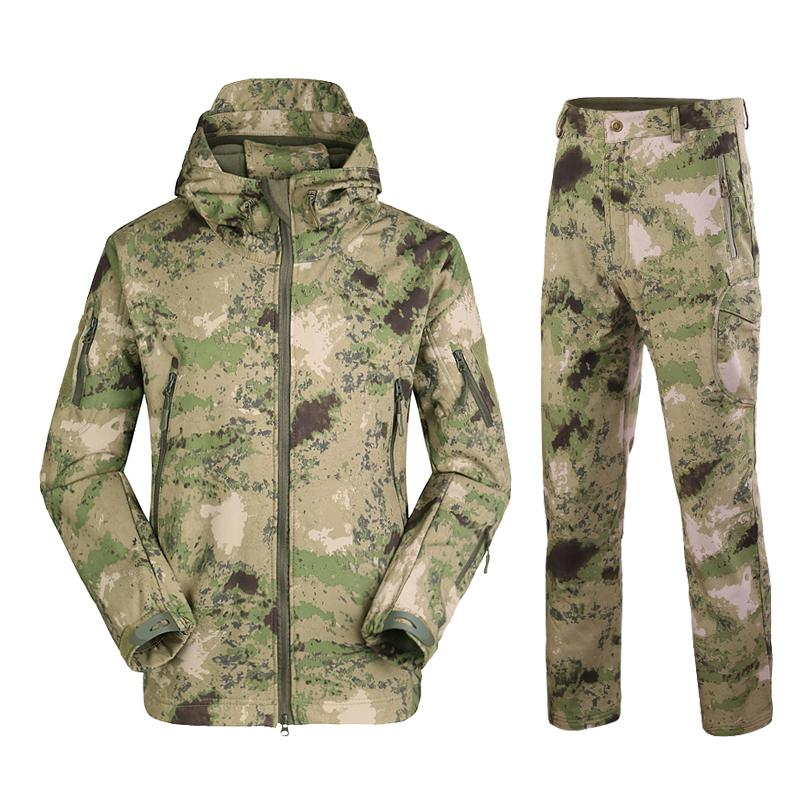 Taktische Anzug TAD Camouflage Shark Haut Soft Shell Taktische Anzüge Winter Herbst Wasserdichte Fleece Combat Gear Männer Kleidung Anzüge