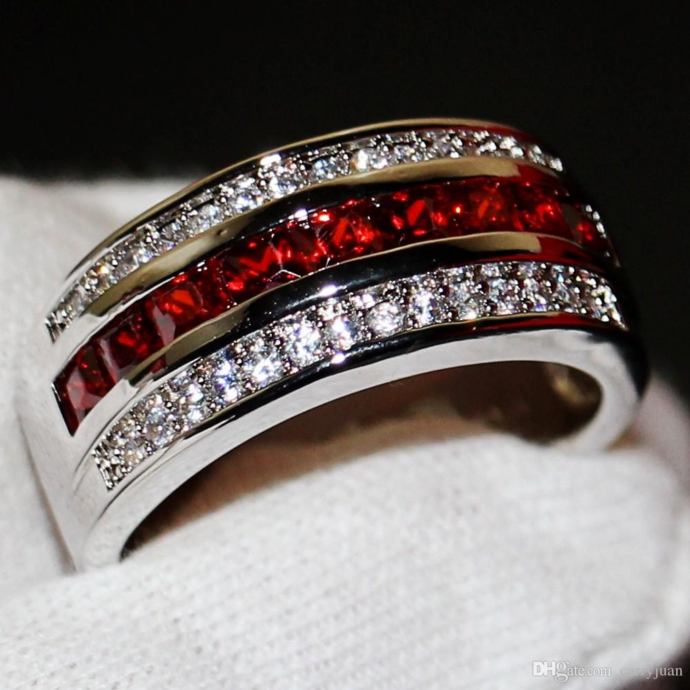 2019 Male Fashion Jewelry 10kt White Gold Filled Princess Cut Red Gar Cz Diamond Gemstones Men Wedding Engagement Band Ring For Lovers' Gift From: White Male Wedding Rings At Reisefeber.org