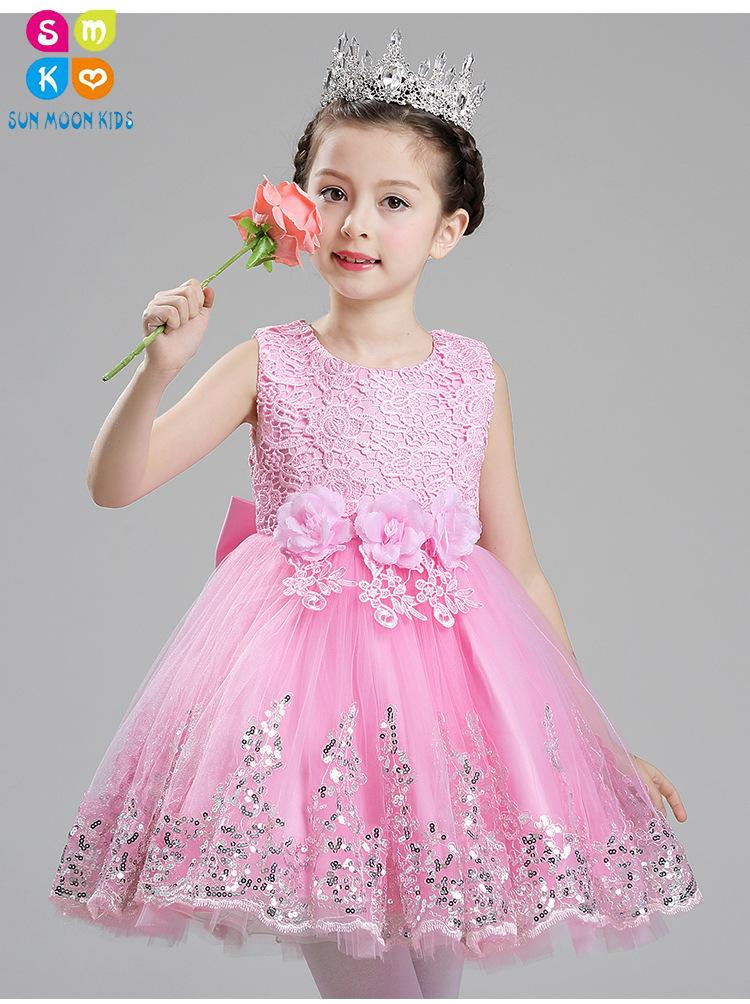 5c36102100404 Sequin 1 Year Old Baby Girl Dress Pink Princess Wedding Birthday Formal  Vestido 2018 Toddler Baby Clothes Christening Gowns