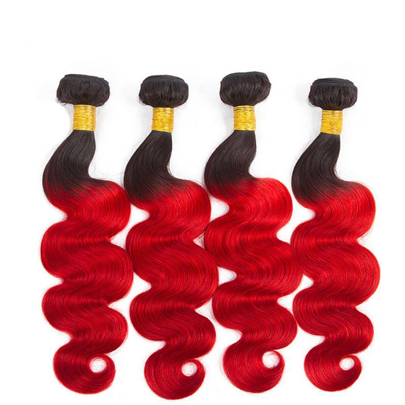Body Wave # 1B / Red Ombre 4x4 Chiusura in pizzo con tesse Ombre rosse radicate a radice con peruviana dei capelli umani Offerte di pacchi con chiusura superiore