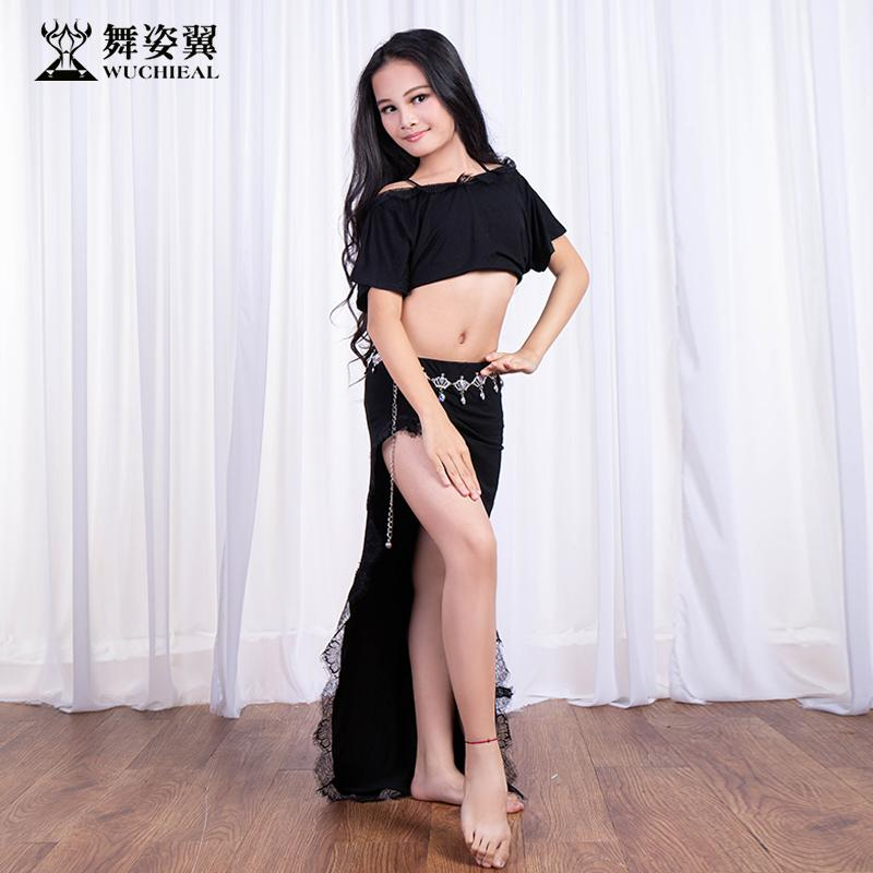 f2f428fe0 2019 Batwing Short Sleeve Lace Belly Dance Placketing Long Skirt Set ...