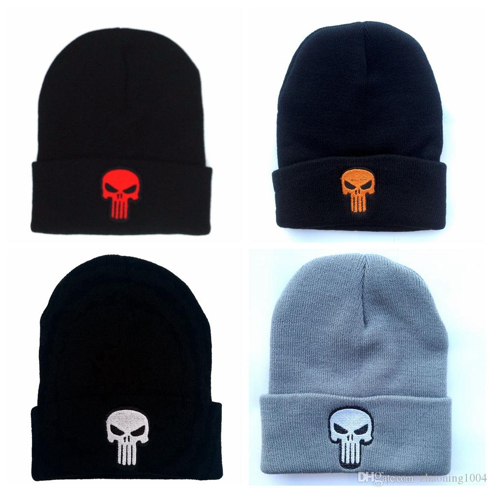 Designer Skull Embroidery Beanies Punisher Hats Man Woman Hip Hop Acrylic  Knit Winter Caps Hats For Adults Snow Cap Slouchy Head Warmer Skull Cap  Beanie Boo ... 0b5369a18f5