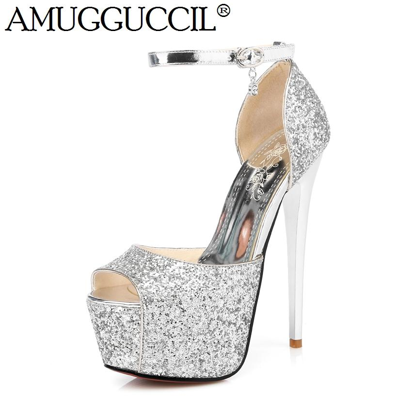 2cd730584102 2017 New Gold Silver Buckle Bling Fashion Sexy 15.5CM High Heels ...