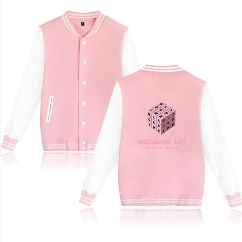Bomber Jacket Women KPOP blackpink square up album Baseball Uniform  Students Coat Long Sleeve Zip-up Fleece Hoodie Sweatshirt