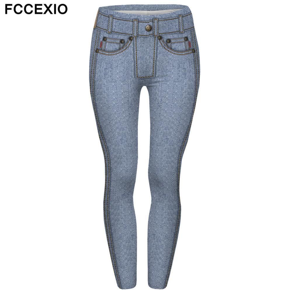Acheter FCCEXIO Marques Nouvelle Mode Femmes Leggings Jeans Bleu Clair  Imprimé Leggins Fitness Legging Sexy Slim Taille Haute Pantalons Femme De   27.0 Du ... 9df258ef92f