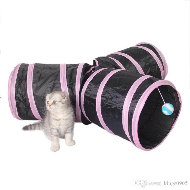 b4d6d124cd9b57 Großhandel Foldabe Haustier Katze Tunnel Indoor Outdoor Pet Katzen  Ausbildung Spielzeug Für Katze Kätzchen Kaninchen Tiere Spielen Tunnel  Rohre 2/3 Löcher ...