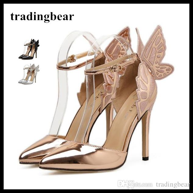 8487b1a25c3 Dreamy Butterfly Ankle Strap Pointy Pumps Super Sexy High Heels Wedding  Shoes Silver Champagne Black Size 35 to 40
