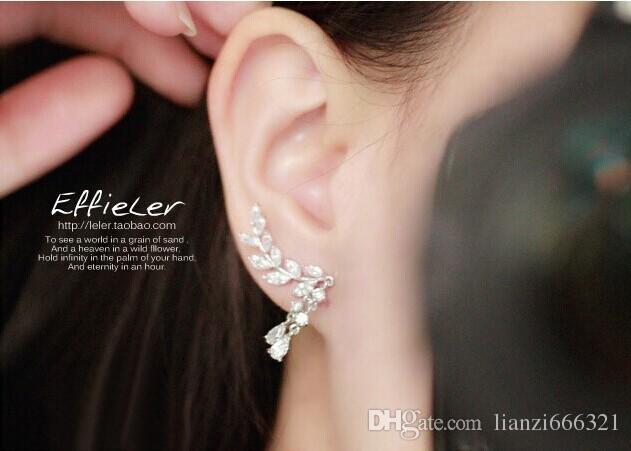 Hot New fashion Piuttosto Nuovo dolce flash diamante popolare foglia foglie nappa cristallo gocce Orecchino spedizione gratuita HJ179