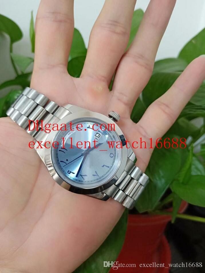 dfc9487f0 New Style Luxury Watches 228206 Platinum Stainless Steel 40 mm Day Date  President Ice Ice Blue Arabic Rare Dial Asia 2813 Automatic Men'