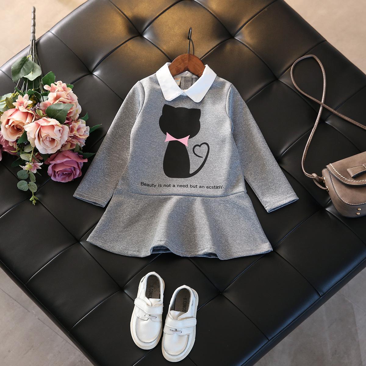 Yeni Sonbahar Çocuklar Kızlar için Elbiseler Pamuk Uzun Kollu Kız Elbise Karikatür Kedi Çocuk Elbise Moda Kız Giyim Güz 2017