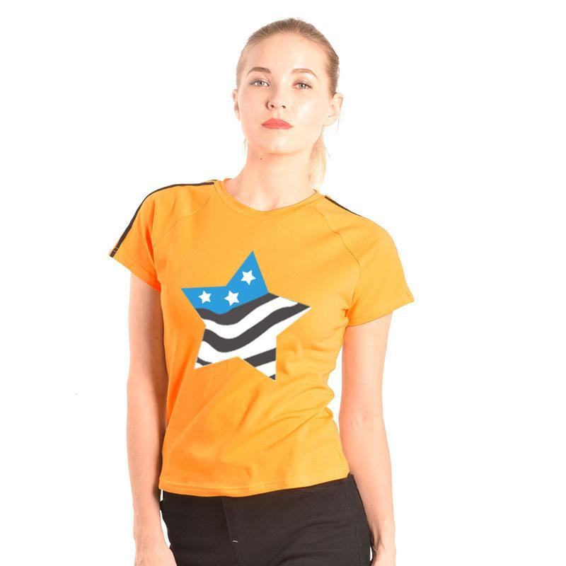 3b318e15d Compre Mulheres Tshirt 2018 Coreano Moda Amarelo Casual Em Torno Do Pescoço  De Manga Curta Top Tee Camisa Estrela De Impressão Roupas Femininas S XL De  ...