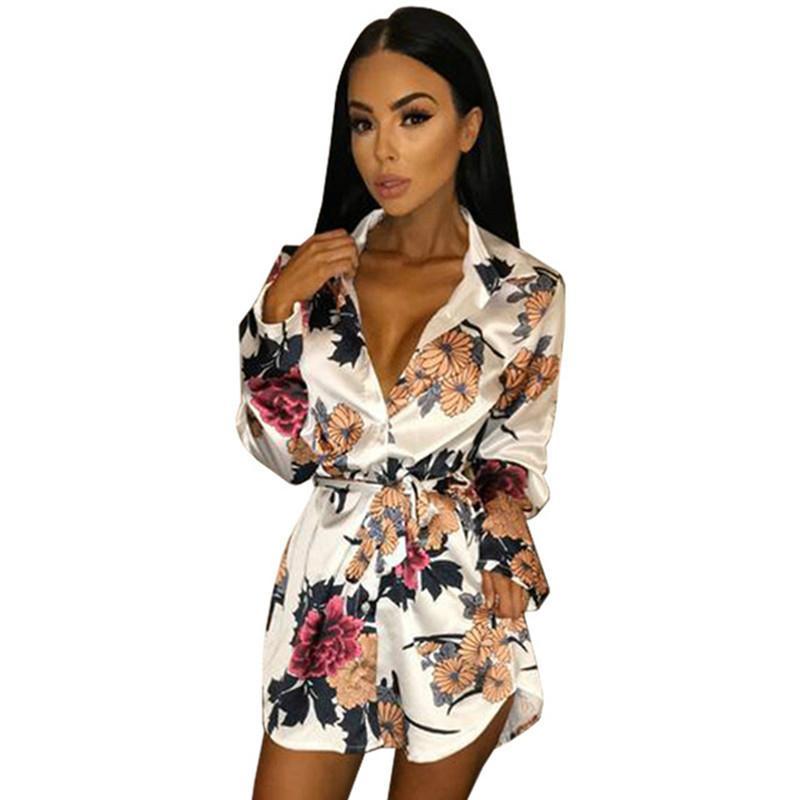24cc8143339e6 Retro Floral Print Notched Dress Sexy Split Bodycon Mini Dress Long Sleeve  Robe Belt Summer Shirt Dress Women 2018 Party Vestido Summer Flower Dresses  Cute ...