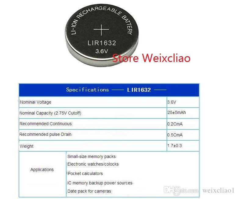 1 LIR1632 3.6V Lithium li ion rechargeable button cell battery 1632 3.6 Volt li-ion coin batteries replace CR1632